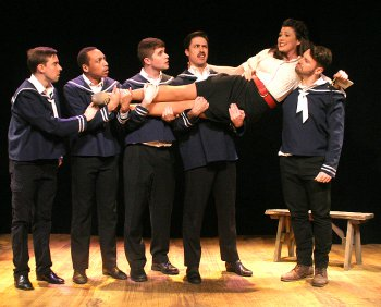 "Eric Shorey, Neville Braithwaite, Ryan Rhue, Dallas Padoven, Elizabeth Broadhurst and Isaac Matthews in a scene from ""Wonderful Town"" (Photo credit: Michael Portantiere)"