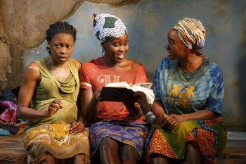 "Pascale Armand, Lupita Nyong'o and Saycon Sengbloh in a scene from ""Ecilpsed"" (Photo credit: Joan Marcus)"