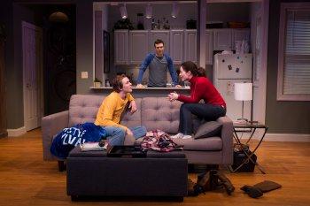 """Thomas E. Sullivan, Jake Epstein and Jenna Gavigan in a scene from """"Straight""""(Photo credit: Matthew Murphy)"""