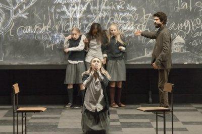"Saoirse Ronan (foreground), Elizabeth Teeter, Ashlei Sharpe Chestnut, Erin Wilhelmi and Ben Whishaw in a scene from ""The Crucible"" (Photo credit: Jan Versweyveld)"