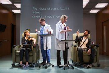 "Susan Flood, George Demas, Kati Brazda and Carter Hudson in a scene from ""The Effect"" (Photo credit: Matthew Murphy)"