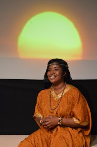 """Jennifer Owusu as Saliya in a scene from """"The Imaginative Space of the African Horizon"""" (Photo credit: Rick Pulos)"""