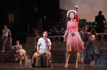 """Zachary Infante as Mauro and Melissa Errico as Leona in a scene from """"Do I Hear a Waltz?"""" (Photo credit: Joan Marcus)"""