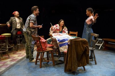"Gordon Joseph Weiss, Matthew Saldivar, KK Moggie and Samira Wiley in a scene from ""Daphne's Dive"" (Photo credit: Joan Marcus)"