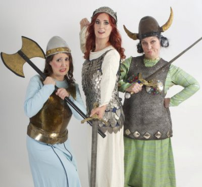 "Amy Maude Heller, Kate Bass and Caitlin Burke in a scene from Gilbert & Sullivan's ""Princess Ida"" (Photo credit: William Reynolds)"