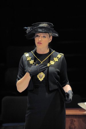 "Elizabeth Boag in a scene from Alan Ayckbourn's ""Hero's Welcome"" (Photo credit: Tony Bartholomew)"