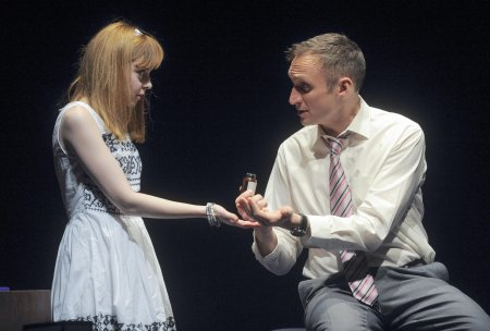 """Evelyn Hoskins and Richard Stacey in a scene from """"Hero's Welcome"""" (Photo credit: Tony Bartholomew)"""