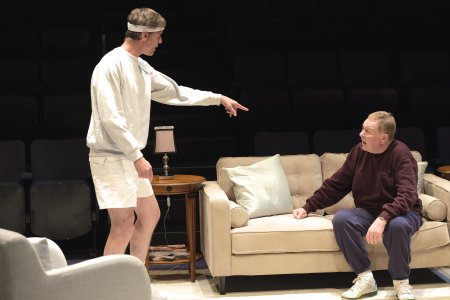 """Stephen Billington and Russell Dixon in a scene from Alan Ayckbourn's """"Hero's Welcome"""" (Photo credit: Tony Bartholomew)"""