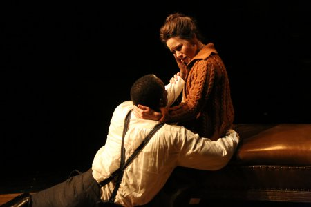 """John Douglas Thompson as The Captain and Maggie Lacey as Laura in a scene from Strindberg's """"The Father"""" (Photo credit: Gerry Goodstein)"""