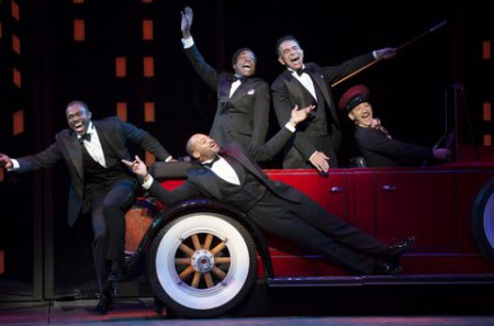 "Joshua Henry, Brandon Victor Dixon, Brian Stokes Mitchell, and Richard Riaz Yoder in a scene from ""Shuffle Along…"" (Photo credit: Julieta Cervantes)"