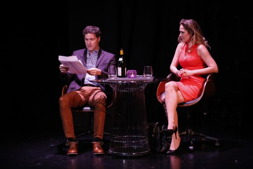 "Matthew DeCapua and Jenny Strassburg in a scene from ""A Class Act"" (Photo credit: Carol Rosegg)"