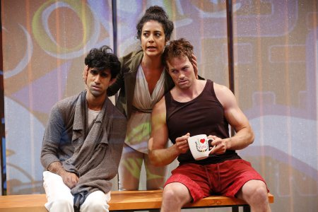 "Sathya Sridharan, Nadine Malouf and Patrick Cummings in a scene from A. Rey Pamatmat's ""This Is How It Ends"" (Photo credit: Carol Rosegg)"