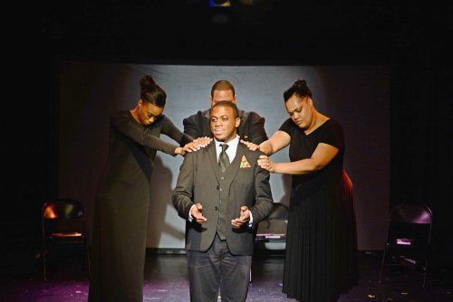 "Lauren Shaye, Marquis Gibson, Christian Lee Branch and Nicole Stacie in in a scene from ""Mother Emanuel (Photo credit: Michela Rynczak)"