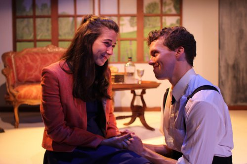 "Lindsay Gitter and Caleb Schaaf in a scene from ""Crashlight"" (Photo credit: Taylor Wobble)"