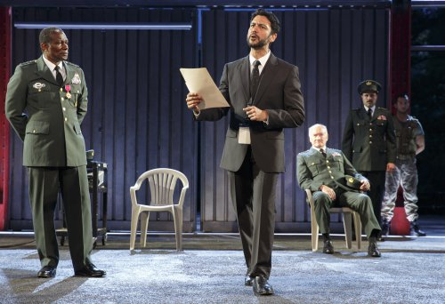 """John Douglas Thompson (Agamemnon), Corey Stoll (Ulysses), Edward James Hyland (Nestor) and Forrest Malloy (Menelaus) in a scene from """"Troilus and Cressida"""" (Photo credit: Joan Marcus)"""