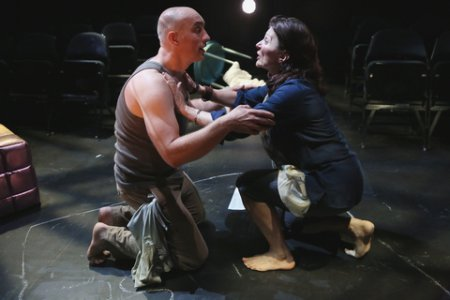 """Tony Naumovski and Antoinette LaVecchia in a scene from Conor McPherson's """"The Birds"""" (Photo credit: Carol Rosegg)"""