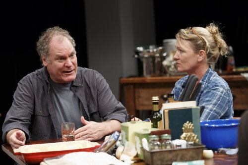 "Jay O. Sanders and Lynn Hawley in a scene from Richard Nelson's ""What Did You Expect?,"" Play 2 of ""The Gabriels: Election Year in the Life of One Family"" (Photo credit: Joan Marcus)"