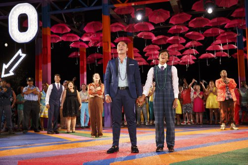 "Jose Llana as Orsino and Nikki M. James as Viola (center) with the company of ""Twelfth Night"" in the Public Theater's free Public Works production (Photo credit: Joan Marcus)"