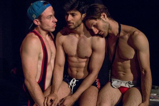 """Elliot Hadley, Adi Chugh and Cesare Scarpone in a scene from """"5 Guys Chillin'"""") (Photo credit: Kasia Burke)"""