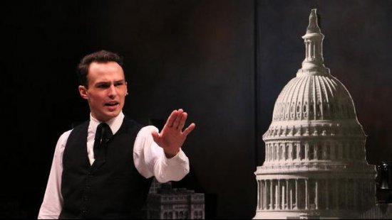 "Austin Scott Lombardi as Congressman La Guardia in a scene from ""Fiorello!"" (Photo credit: Alexander Hill)"