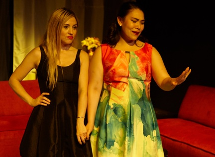 "Darcy Wright and Emily Ota in a scene from ""Bachelorette"" (Photo credit: Giovanna Grueiro)"