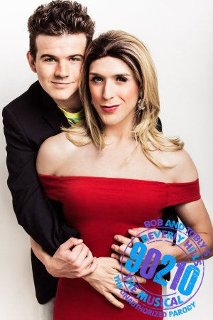 "Thaddeus Kolwicz as David Silver and Caleb Dehne as Tori Spelling in ""90201! The Musical"" (Photo credit: Chad Wagner)"