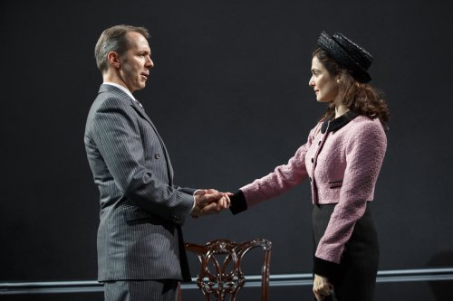 """Paul Niebanck and Rachel Weisz in a scene from The Public Theater's revival David Hare's """"Plenty"""" (Photo credit: Joan Marcus)"""