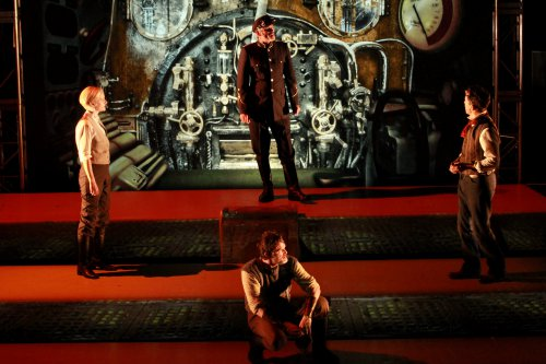 """Suzy Jane Hunt, Marcel Jeannin (seated), Richard Clarkin and Rick Miller in a scene from """"Twenty Thousand Leagues under the Sea"""" (Photo credit: Itai Erdal)"""