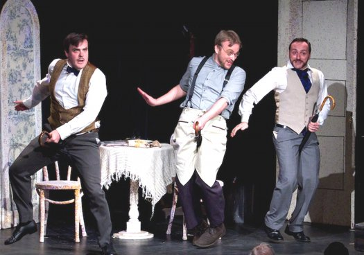 """Daniel Greenwood, Matthew Wages and David Macaluso in a scene from """"Cox and Box"""" (Photo credit: William Reynolds)"""