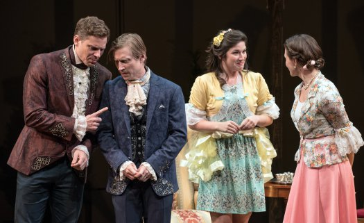 "Tony Roach, Jeremy Beck, Justine Salata and Mairin Lee in a scene from TACT's revival of ""She Stoops to Conquer"" (Photo credit: Marielle Solan)"