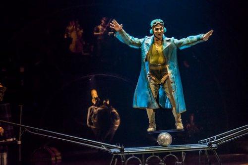 "Colombian James Eulises Gonzalez Correa's Rolla Bolla act in Cirque du Soleil's ""Kurios: Cabinet of Curiosities"" (Photo credit: Martin Girard/shoot studio.ca; costumes: Philippe Guillotel)"