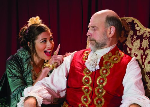"""Meaghan Bloom Fluitt and Kurt Kingsley in a scene from Prosper Mérimée's """"The Coach of the Holy Sacrament,"""" included as part of """"Divine Comedy"""" (Photo credit: Michael Abrams Photography)"""