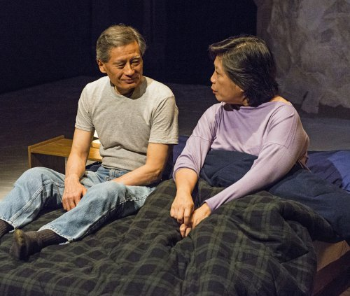 "Glenn Kubota and Mia Katigbak in a scene from ""Sagittarius Ponderosa"" (Photo credit: William P. Steele)"