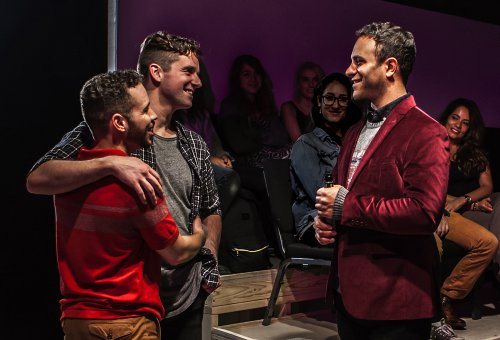 "Robin De Jesús, Michael Urie and Aaron Costa Ganis in a scene from ""Homos, Or Everyone in America"" (Photo credit: Monique Carboni)"