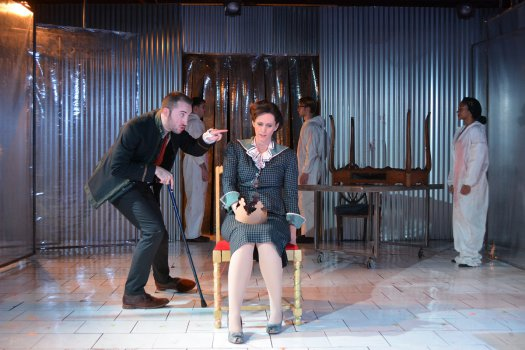 "Max Hunter and Robin Abramson in a scene from ""Richard III"" Photo credit: Courtesy of The Bridge Production Group)"