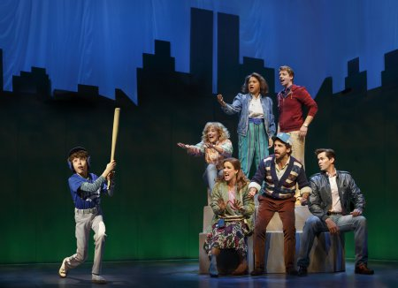 "Anthony Rosenthal, Betsy Wolfe, Stephanie J. Block, Tracie Thoms, Brandon Uranowitz, Christian Borle and Andrew Rannells in a scene from ""Falsettos"" (Photo credit: Joan Marcus)"