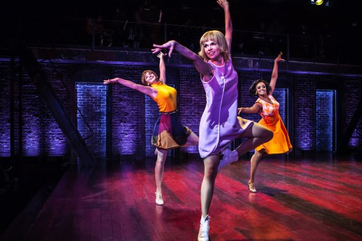 "Emily Padgett, Sutton Foster and Asmeret Ghebremichael in The New Group's ""Sweet Charity"" (Photo credit: Monique Carboni)"
