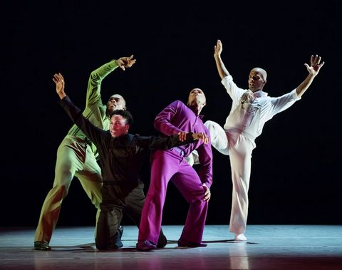 "Jamar Roberts, Jeroboam Bozeman, Glenn Allen Sims and Vernand J.Gilmore in Hope Boykin's ""r-Evolution, Dream."" (Photo credit: Paul Kolnik)"