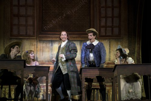 "Jay Armstrong Johnson, Jessica Tyler Wright, Gregg Edelman, Keith Phares, and Meghan Picerno in a scene from the New York City Opera's revival of ""Candide"" (Photo credit: Sarah Shatz)"