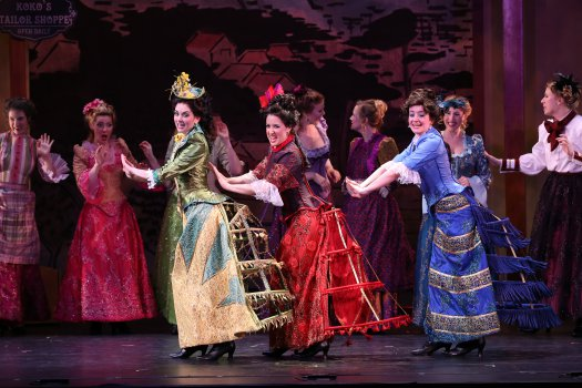 """Sarah Caldwell Smith, Amy Maude Helfer and Alexandra Haines as the """"Three Little Maids from School"""" in a scene from New York Gilbert & Sullivan Players' new production of """"The Mikado"""" (Photo credit: Carol Rosegg)"""