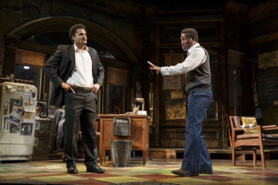 "Brandon J. Dirden and John Douglas Thompson in a scene from August Wilson's ""Jitney"" (Photo credit: Joan Marcus)"