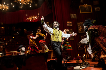 "Josh Groban and cast in a scene from ""Natasha, Pierre & The Great Comet of 1812"" (Photo credit: Chad Batka)"