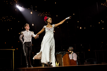 """Lucas Steele and Denée Benton in a scene from """"Natasha, Pierre & The Great Comet of 1812"""" (Photo credit: Chad Batka)"""