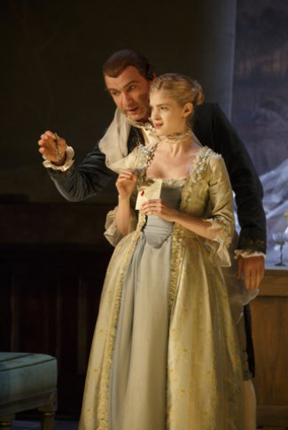 "Liev Schreiber and Elena Kampouris in a scene from ""Les Liaisons Dangereuses"" (Photo credit: Joan Marcus)"