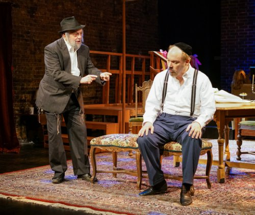 "David Mandelbaum and Shane Baker in a scene from New Yiddish Rep's revival of ""God of Vengeance"" (Photo credit: Ronald L. Glassman)"