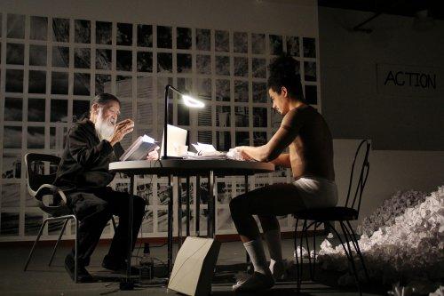 "Agosto Machado and John Guttierez in a scene from Robert Patrick's ""Hi-Fi | Wi-Fi | Sci-Fi"" (Photo credit: Minji Lee)"