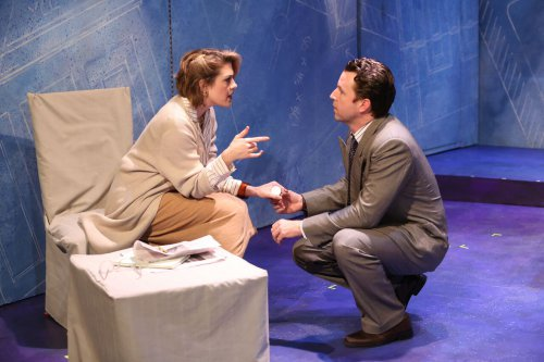 "Kate Loprest and John Patrick Hayden in a scene from ""The Big Broadcast on East 53RD"" (Photo credit: Carol Rosegg)"