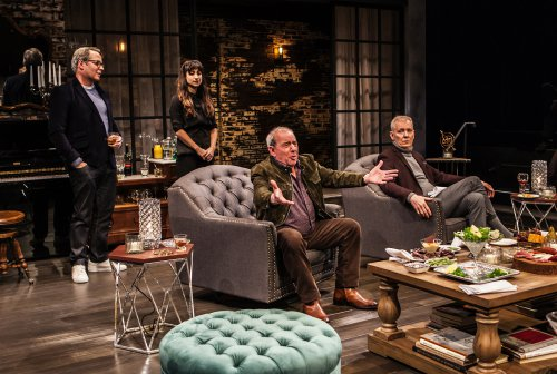 """Matthew Broderick, Annapurna Sriram, Michael Tucker and John Epperson in a scene from """"Evening at the Talk House"""" (Photo credit: Monique Carboni)"""