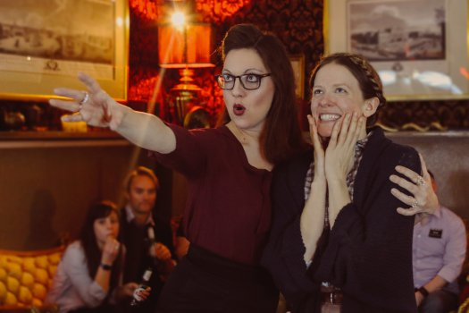 "Leah Walsh and Amanda Sykes in a scene from ""Drunkle Vanya"" at Tolstoy's Lounge at the Russian Samovar (Photo credit:  Britannie Bond)"
