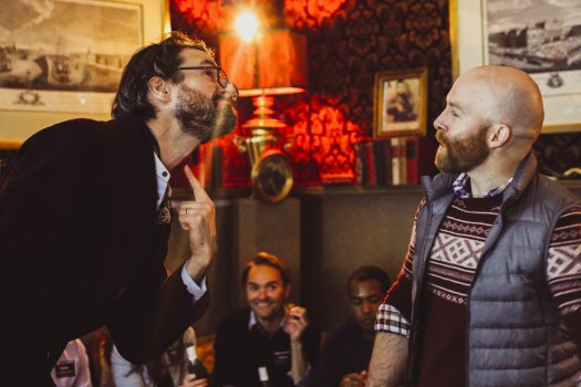 """Sean Tarrant and Joel Rainwater in a scene from """"Drunkle Vanya"""" at Tolstoy's Lounge at the Russian Samovar (Photo credit: Britannie Bond)"""